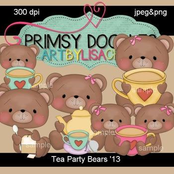 Tea Party Bears 300 dpi clipart