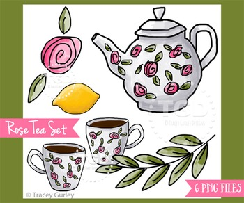 Tea Party Clip Art Set, tea set clip art Printable Tracey