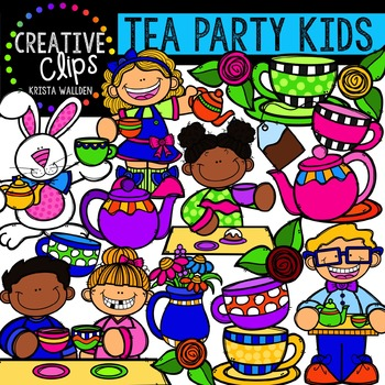 Tea Party Kids {Creative Clips Digital Clipart}