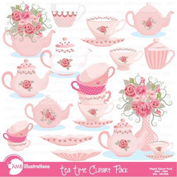 Tea Time Clipart, Valentine Days Clipart, Tea Pot Art, AMB-961