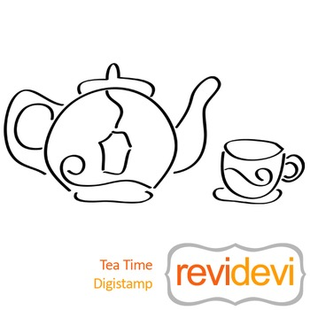 Tea time (digital stamp, coloring image) S047, tea cup and