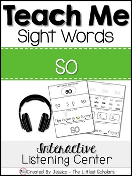 Teach Me Sight Words: SO [Interactive Center with Printabl