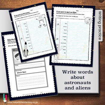Space themed alphabet and numbers cursive handwriting reso