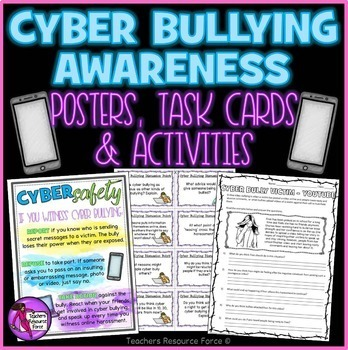 Cyber Bullying Awareness: Digital Citizenship (Posters, Ta