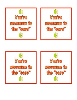 """Teacher Appreciation """"Awesome to the Core"""" Apple Tag"""