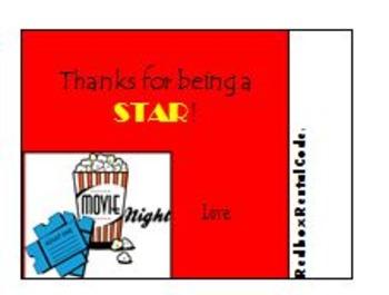 Teacher Appreciation Gift - Redbox Rental Card
