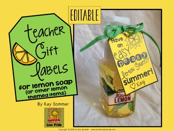 Teacher Appreciation Label {lemon themed} editable FREE