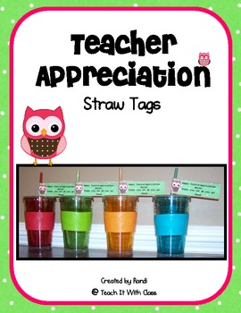 Teacher Appreciation Straw Tags