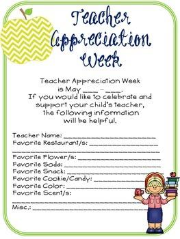 Teacher Appreciation Week Questionnaire for Parents