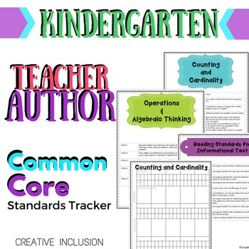 Teacher-Author Common Core Standards Tracker for Kindergarten