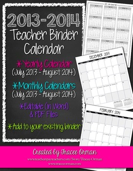 Teacher Binder 2013-2014 Calendar Editable