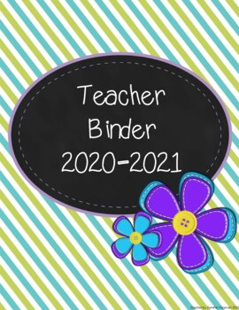 Teacher Binder 2016-2017 (lime green, teal, and purple theme)