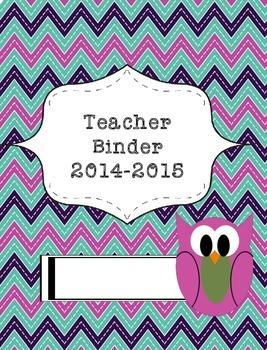 Teacher Binder 2015-2016 Chevron Owl