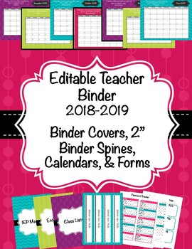 Teacher Binder 2016-2017(Covers, Spines, Forms & Calendars