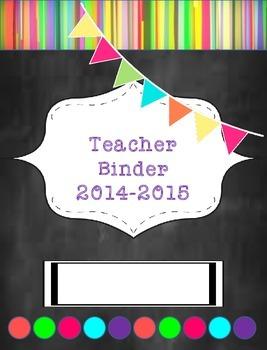Teacher Binder 2015-2016 Rainbow Chalkboard