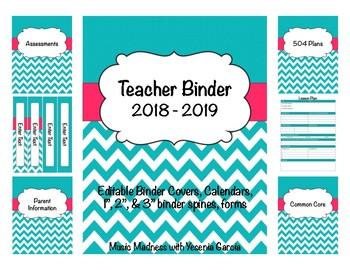 Teal & Pink Chevron Teacher Binder 2016-2017(Binder Covers