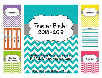 Teacher Binder 2016-2017 (Covers, Spines, Forms & Calendar