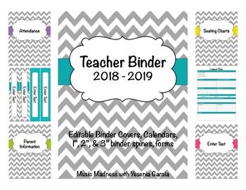Teacher Binder 2016-2017 (Covers, Spines, Forms & Calendar