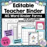 Editable Teacher Binder Planner (FULLY Editable in MS Word