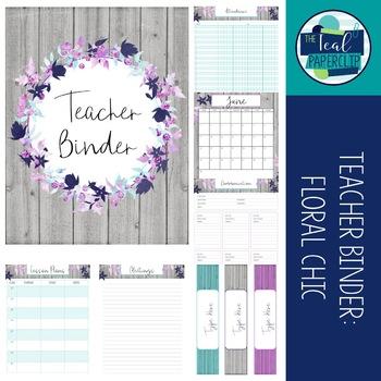 Teacher Binder 2016-2017: Floral Chic