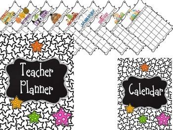 Editable Teacher Binder {Black & White Stars}