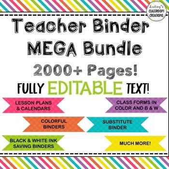 Teacher Binder  & Substitute Binder Mega Bundle - 1000+ ED