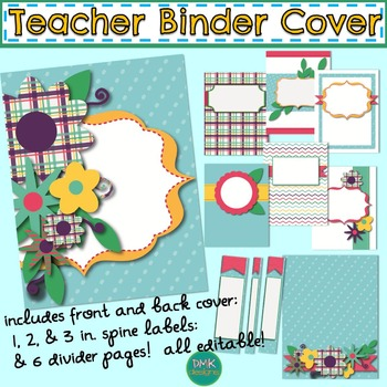 Teacher Binder Cover, Spine Label, and Divider Pages