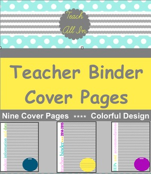 Teacher Binder Cover/Section Title Sheets