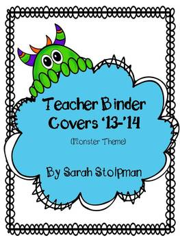 Teacher Binder Covers (Monster Theme)