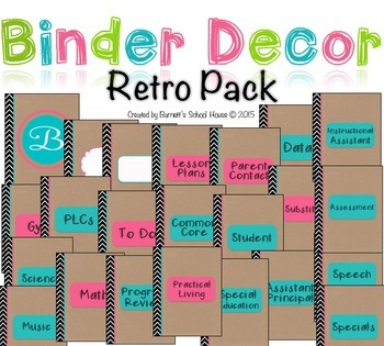 Teacher Binder Covers, dividers and Spines EDITABLE {Retro