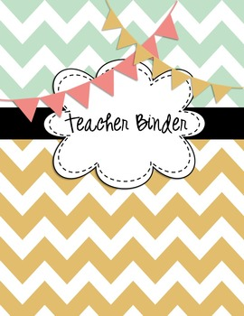 EDITABLE Teacher Binder Covers Any Year Mint Green Chevron