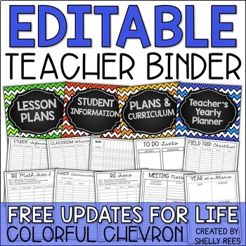 Teacher Binder: EDITABLE Yearly Planner, Gradebook, Logs,