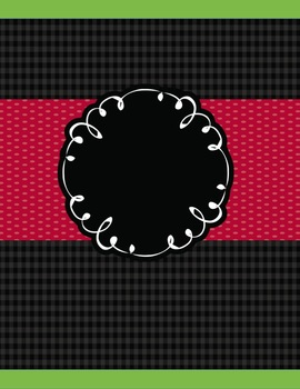 Teacher Binder Editable - Black Green Red Colors