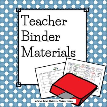 Teacher Binder Materials-- Logs, Class News, Curriculum Te