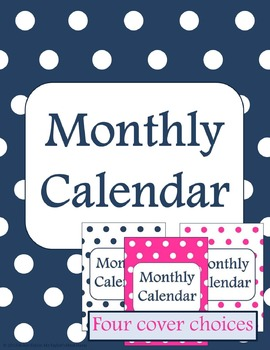 Monthly Calendar Navy and Pink