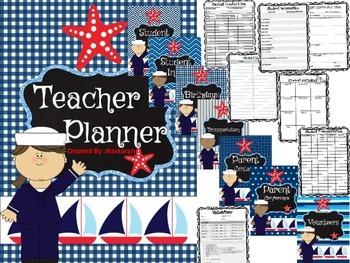 Editable Teacher Binder {Navy}