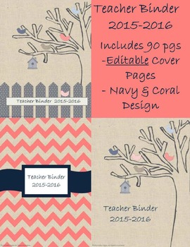 Editable Teacher Binder- Navy and Coral Birds