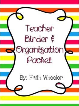 Editable Teacher Binder & Organization Packet (Horizontal