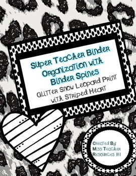 Teacher Binder Organization - Snow Leopard Glitter Print w