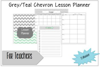 Teacher Lesson Planner-2016-2017 Grey/Teal Chevron