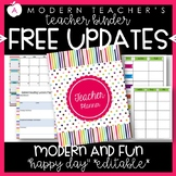 Teacher Binder and Planner Editable :: Free Updates (Happy Day)