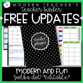 Teacher Binder and Planner Editable :: Free Updates (Polka Dots)