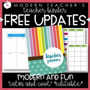 Teacher Binder and Planner Editable :: Free Updates (Calming)