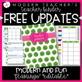 Teacher Binder and Planner Editable :: Free Updates (Flamingo)