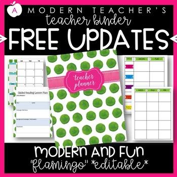 Teacher Binder and Planner Editable :: Free Updates (Flamingo)