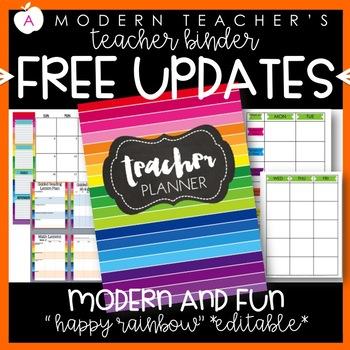 Teacher Binder and Planner Editable :: Free Updates (Happy