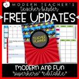 Teacher Binder and Planner Editable :: Free Updates (Superhero)