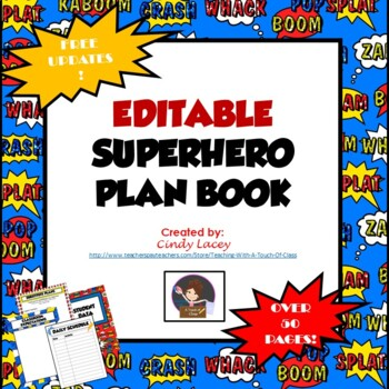 Editable Teacher Binder & Plan Book Bundle - Superhero