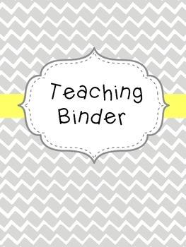 Teacher Binder- Yellow and Gray