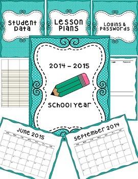 Teacher Binder and Classroom Decor- teal and green polka dot